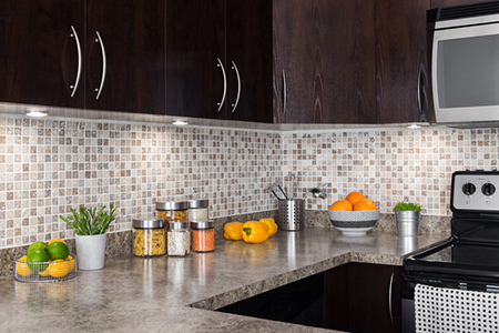 Modern kitchen with cozy lighting